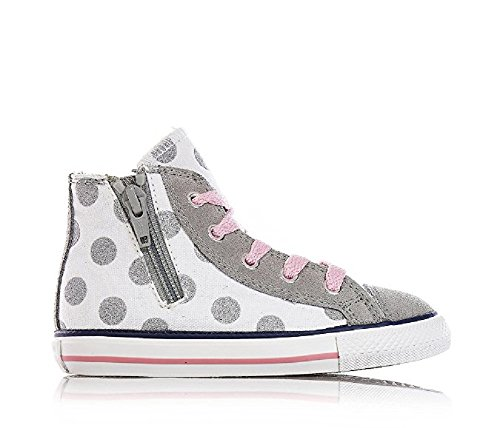 huck Taylor Glitter Polka Dots Side Zip Hi Optic White/Grey Dust (US 2 Toddler) ()