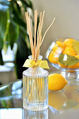 Manu Home Meyer Lemon Reed Diffuser Set~ Includes Natural Set of Sticks~ Voted Best Citrus Scent ~ Made with Essential Oil Blend of Lemons, Mandarin and Citrus Extract ~ Proudly Made in The USA!