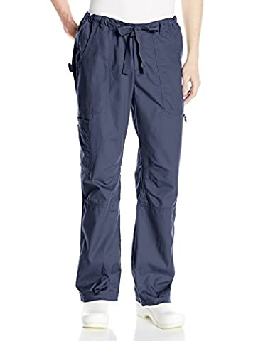 Koi Men's James Elastic Scrub Pants with Zip Fly and Drawstring Waist, Navy, Small/Short