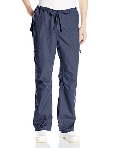 KOI Men's James Elastic Scrub Pants With Zip Fly and Drawstring Waist, Navy, Large (Tall Scrub Koi Mens)