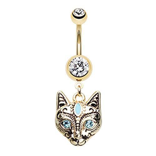 Little Aiden Golden Cleopatra Cat Navel Belly Button Ring Size 14GA 3/8