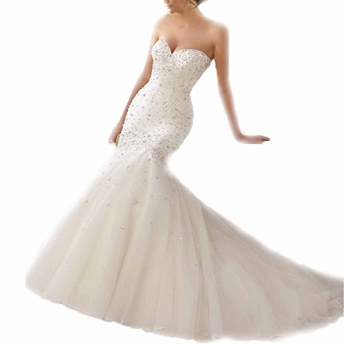 KLN_Dress Women's Sweetheart Strapless Luxury Sequins Beaded Wedding Dress Beading Mermaid Wedding Gown
