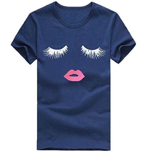(VEZAD T-Shirt Women Girls Plus Size Eyelash Lip Print Short Sleeved Blouse Navy)