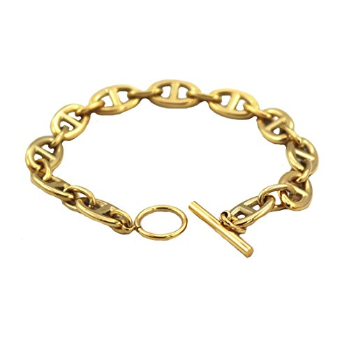 Baoli Titanium 3 Color Capital Letter Link Gold Plated Chain Hinge Bracelet (Yellow gold color, (Yellow Gold Bar Link Chain)