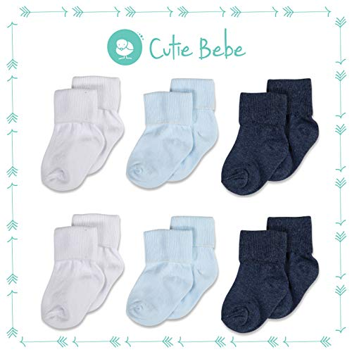 Cotton Baby Socks, Boys or Girls Sizes Newborn Infant to Toddler, Roll Cuff, 6-Pack, Ocean/White/Navy, by Cutie Bebe