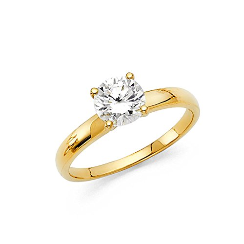 Solid Yellow 14k Solitaire Gold (Size 6 - Solid 14k Yellow Gold Classic Traditional Round Brilliant Cut Solitaire, Authenticated with a 14k Stamp Engagement Ring 1.0ct.)
