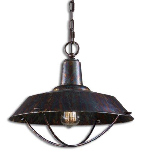 (Uttermost Arcada 1 Light Bronze Pendant with Oxidized Bronze Finish Antique Style Bulb)