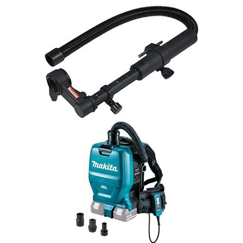 Makita 193472-7 Dust Extraction Attachment  with Makita XCV05ZX 8V X2 LXT Lithium-Ion 36C Brushless Cordless 1/2 gallon HEPA Filter Backpack Dry Vacuum with Tool Adapters