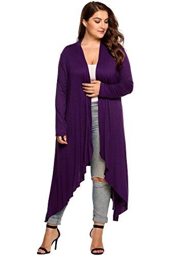 GBoon Women's Long Sleeve Asymmetrical Drape Open Front Long Maxi Cardigan Sweater - Holiday Maternity Sweater