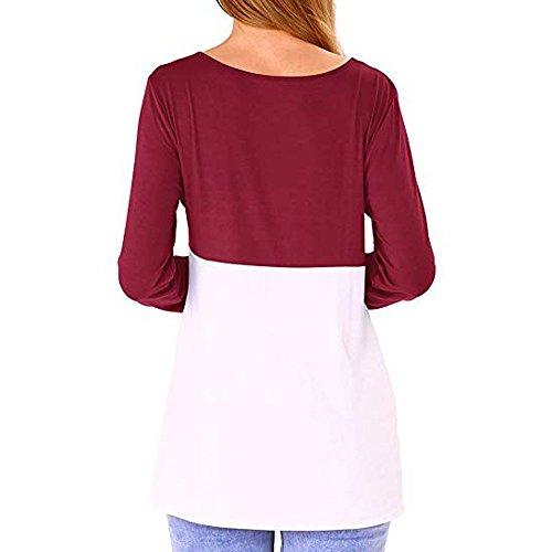 Camicia Casual Manica Mecohe Rosso Lunga a Autunno Camicetta con Girocollo Block Donna Maglietta Top Colore Taschino Elegante dwwfq7