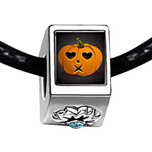 Chicforest Silver Plated Halloween Jack O lantern Photo Blue Aquamarine Crystal March Birthstone Flower Charm Beads Fits Pandora Bracelet