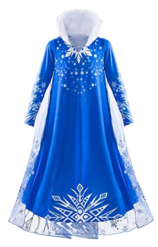MOREMOO Elsa Costume Dress Girl Snowflake Winter Dress for Halloween Party(Blue 6) ()