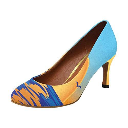 Heel Pump High Houndstooth (INTERESTPRINT Women's High Heels Dress Pump Shoes Ocean Sea Sunset 5 B(M) US)