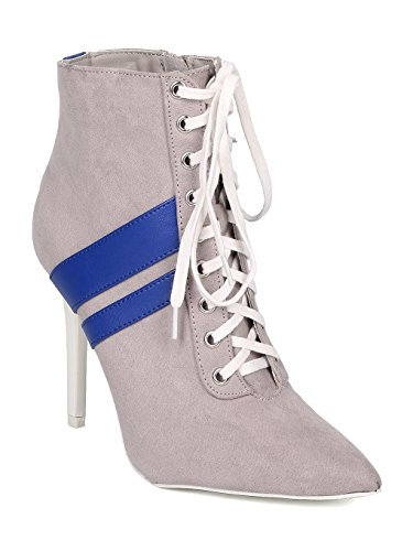Qupid Women Faux Suede Pointy Toe Lace Up Sporty Stiletto Bootie GF11 - Grey (Size: 8.0)