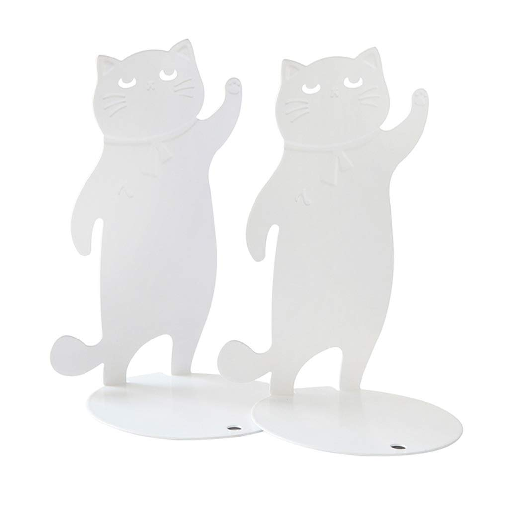 Xilin-shop Bookends Nonskid Decorative Cat Bookend Desktop Book Storage Bookshelf Pair Metal Bookend Art Bookend (Color : White) by Xilin-shop
