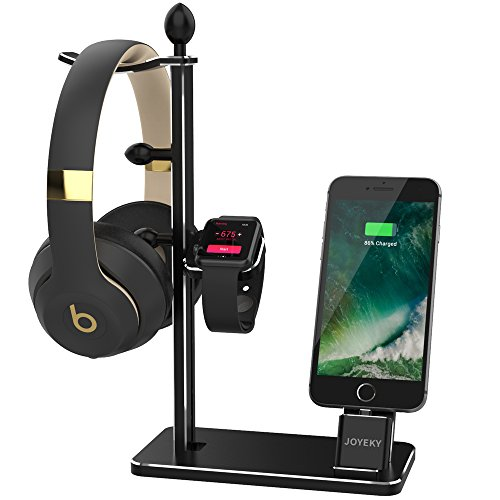 Apple Watch Stand, JOYEKY Aluminum Apple Watch Charger Dock Headphone Stand Headset Holder, iPhone Dock Apple Watch Accessories for Apple Watch Series 3 2/1/ iPhone X / 8/ 8 Plus/ 7/ 6S Plus/ iPad (Iphone Ipad Docking)