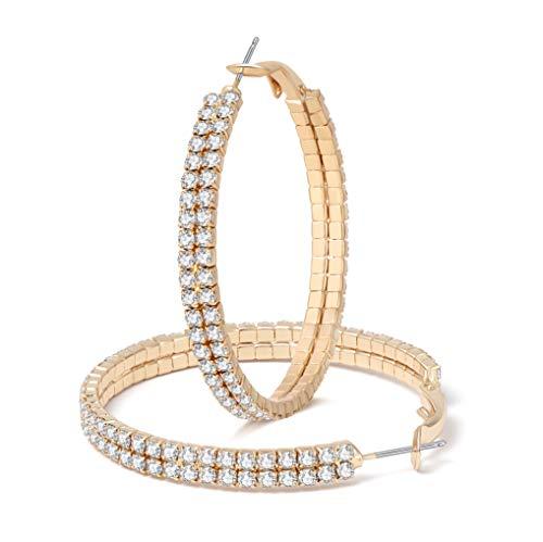 Hoop Earrings for Women Girls Classic Crystal Rhinestone Hoop Earrings Pierced Austrian Style Hypoallergenic Earrings Womens Bridal Jewelry