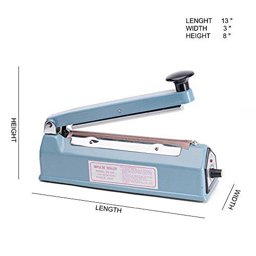 Metronic Impulse Bag Sealer Poly Bag Sealing Machine Heat Seal Closer with Repair Kit (8 inch) by METRONIC (Image #1)