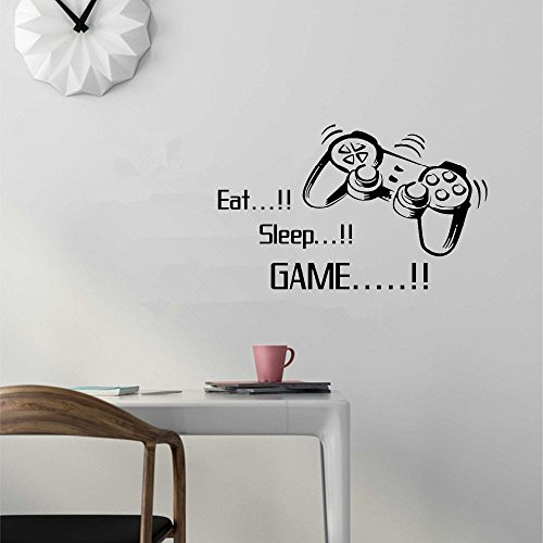 als Vinyl Removable Stickers Eat Sleep Game Letter Decor Mural for Kids Rooms ()