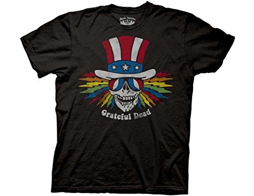 Vintage Uncle Sam - Ripple Junction Grateful Dead Adult Unisex Uncle Sam Skull Light Weight 100% Cotton Crew T-Shirt LG Vintage Black Coal