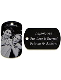 Personalized custom engraved Photo Tag with Message pendant