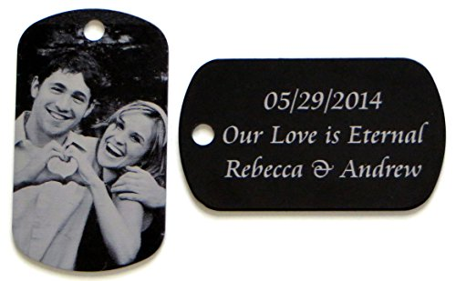 (LazrArt Personalized Custom Engraved Photo Tag with Message Pendant)