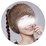 warm Women Mink Headband Mink Hat for Women,light black,