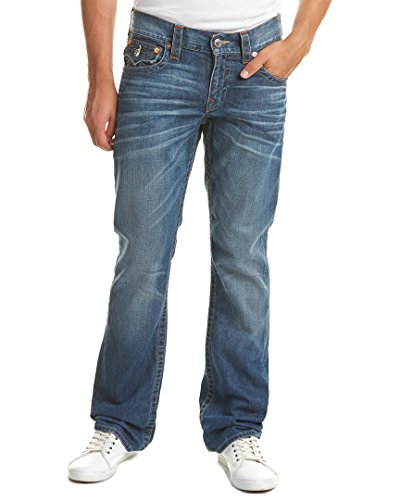 True Religion Men's Straight Jean with Flap Back Pockets, Lost Adventure, 32 Back Flap Pocket