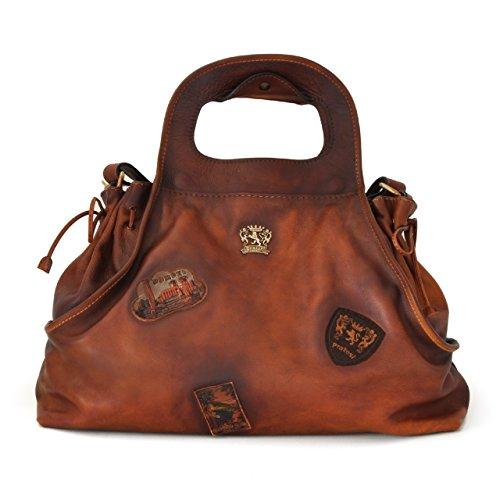 Pratesi Unisex Italian Leather Handbag Gaiole in Cow Leather - Bruce in Brown