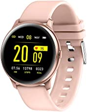 SLEEKFIT® Smartwatch KW19, Fitness Tracker, Heart Rate Monitor, Activity Tracker with 1.3inch Colourful TFT, Waterproof, Smartwatch with Sleep Monitor, Step Count, Music Control for Men & Women