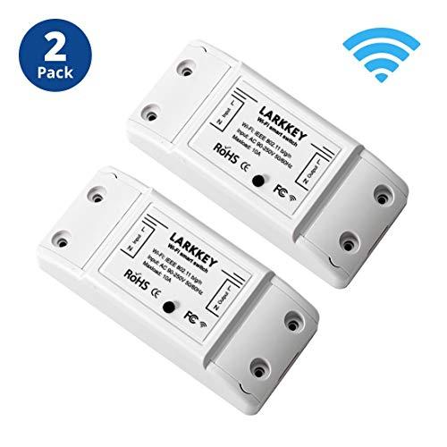 LARKKEY Mini WiFi Switch 2 Pack 90-250V, Wireless Remote Control Smart Switch