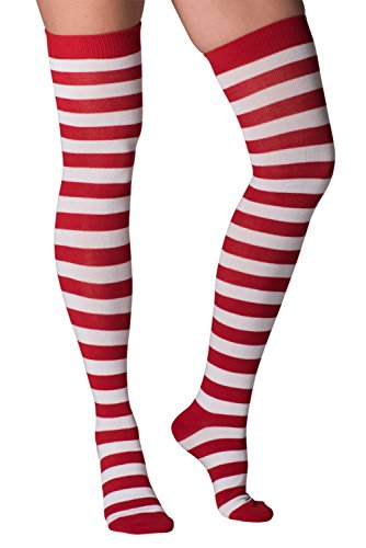 Mens & Womens Fun Novelty Holiday Halloween Xmas Socks- One Size Fits Most (One Size Fits Most (Shoe-4-10), Christmas Over The Knee-Red Stripes-1 Pair) -