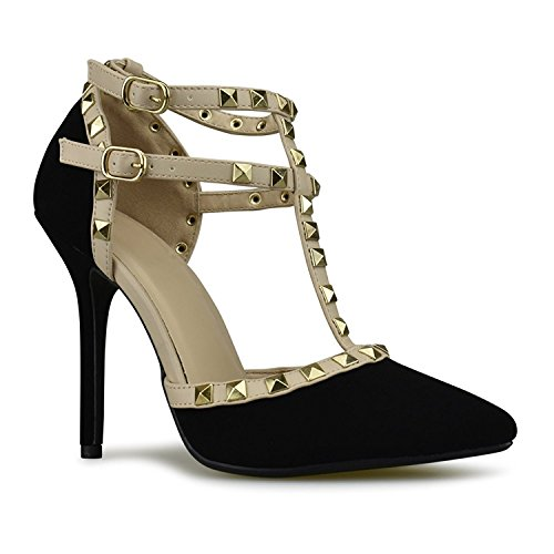 Nubuck Stud - Womens Ankle T-Strap Stiletto Heel Pump Sandal Pointy Toe Gold Stud Strappy Dress Summer Wedding Shoes Black Nubuck 7