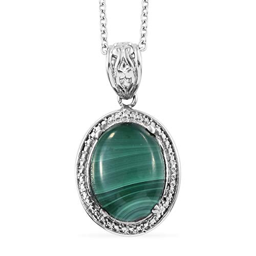 """Chain Pendant Necklace Steel and White Stainless Steel Oval Malachite Gift Jewelry for Women Size 20"""""""