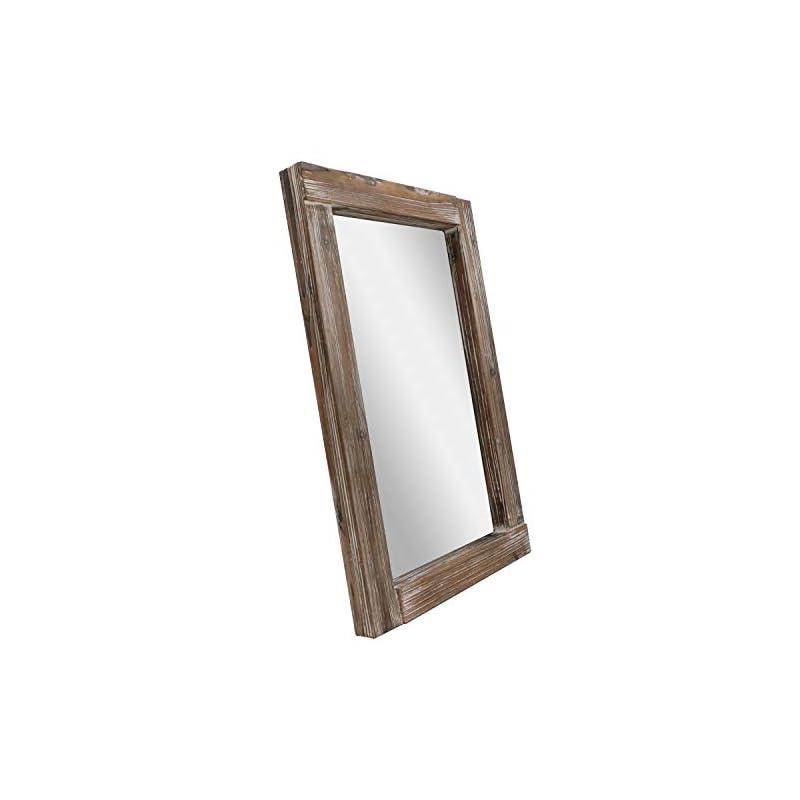 "Barnyard Designs 24"" x 36"" Decorative Long Wall Hanging Mirror, Rustic Vintage Distressed Wood Farmhouse Mirror Wall Decor, Brown"