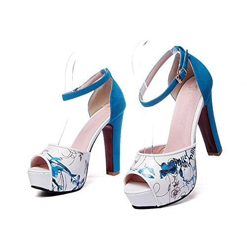 AalarDom Mujeres Tacón ancho Sólido Hebilla Peep con Plataforma Sandalia Azul
