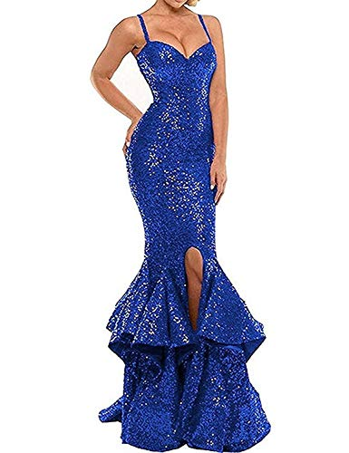 Women's Sexy Sequin Evening Dresses for Party Mermaid Split Side Long Prom Gown US4 Size Royal Blue