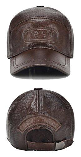 para Béisbol de Sombrero Costura Orejeras de Cuero de Invierno Ajustable Roffatide con Gorra Hombres S6qyB