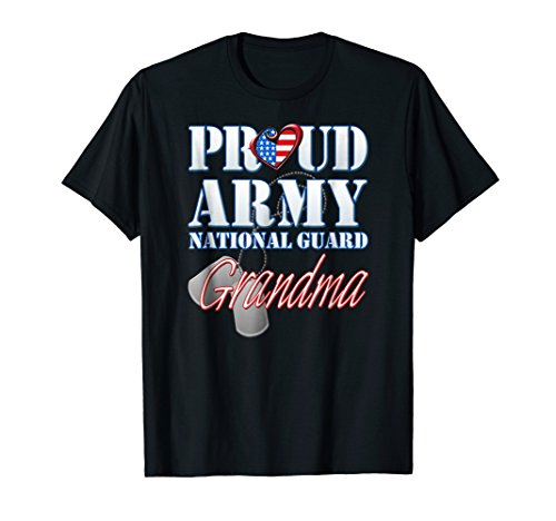 (Proud Army National Guard Grandma USA Heart Flag Shirt)