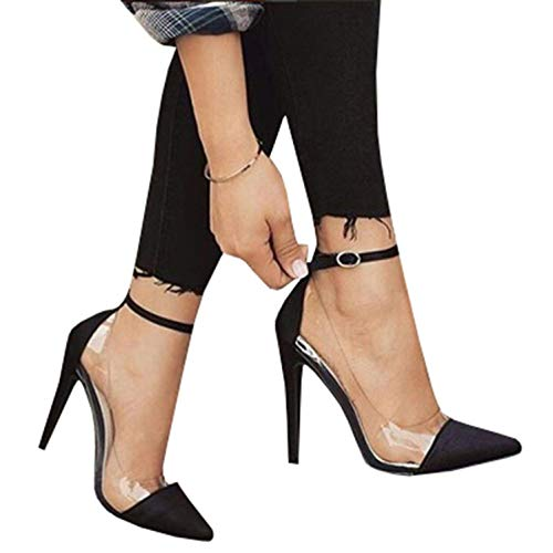 Womens Ankle Strap Stilettos Thin High Heels Pointed Toe Clear Work Pumps Sandals Black