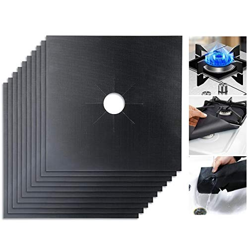 Gas Stove Burner Covers, Wallfire Stove Burner Covers Black Square 0.2mm Double Thickness Protectors for Kitchen, Size 10.6 x 10.6, Non- Stick, Cuttable, Dishwasher Safe, Easy to Clean (10-Pack)