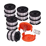 """Newjinda[12 Pack]Line String Trimmer Replacement Spool, 30ft 0.065"""" Autofeed weed eater string, Compatible with Black+Decker String Trimmers(10 Replacement Spool, 2 Trimmer Cap, 2 Spring)"""