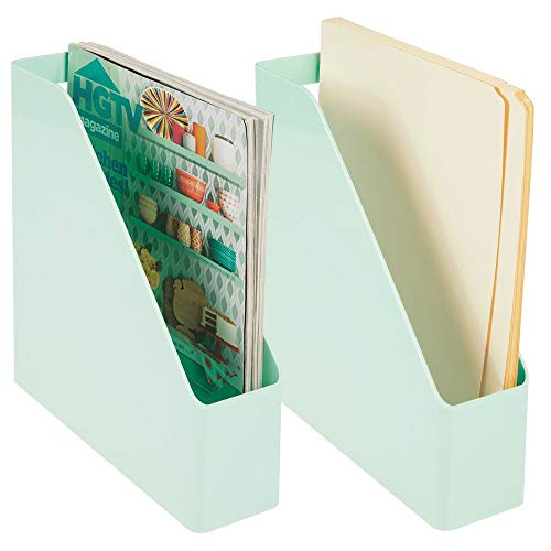 mDesign Plastic File Folder Bin Storage Organizer - Vertical with Handle - Holds Notebooks, Binders, Envelopes, Magazines - Container for Home Office and Work Desktops - 2 Pack - Mint Green
