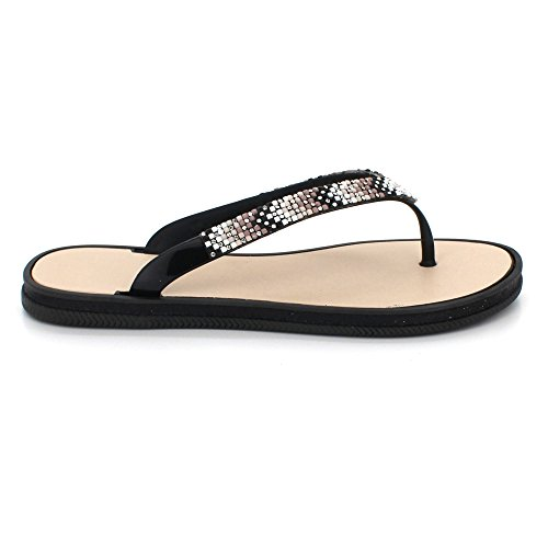 Women Ladies Toe Post Evening Casual Flat Diamante Summer Soft Lightweight Slipper Sandals Shoes Size Black 8pgkdhjpCR