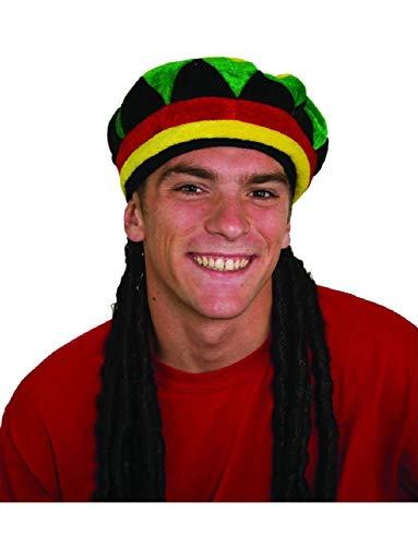 Jamaican Rasta Rastafarian Beanie Hat with Dreadlocks Costume