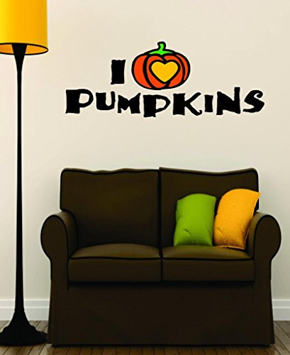 (Design with Vinyl RAD V 375 1 I Love Heart Pumpkins Halloween Holiday Fall Seasonal Decoration Picture Art Sign Decal, 12