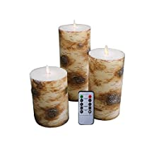 """Set of 3 Birch Bark Flameless Wax Battery Operated 5"""" 7'' and 9"""" LED Candles"""