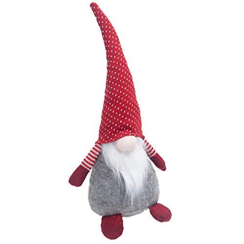 GMOEGEFT Scandinavian Gnome Plush Doll Swedish Tomte Santa, Desktop Ornament, 17 Inch (Red with White Dots)