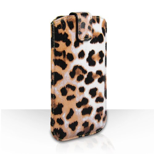 Yousave Accessories Huawei Ascend G6 Case Leopard PU Leather Auto Return Pull Tab Pouch Cover With Micro USB Cable And Car Charger