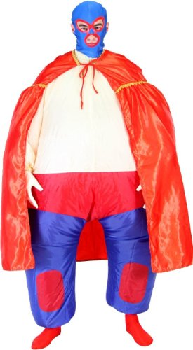 Halloween Luchador Costume (Lucha Libre Jumpsuit Chub Suit Inflatable Blow Up Costume)